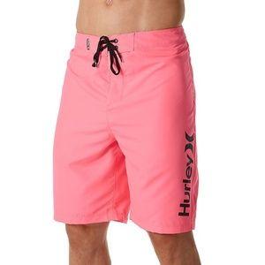 Hurley Neon Pink Boardshorts Swim Sz 32